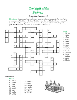 The Sign of the Beaver: Anagram Crossword—A Unique Spelling Challenge!