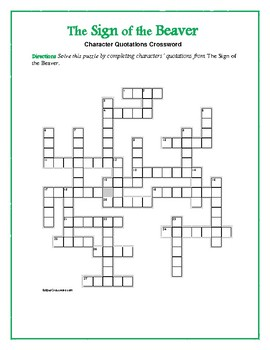 The Sign of the Beaver: Characters' Quotations Crossword—Unique!