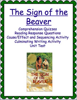 The Sign of the Beaver Novel Study Activities and Test