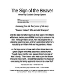 The Sign of the Beaver Novel Study