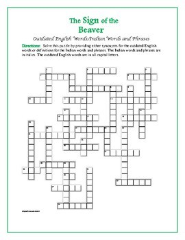The Sign of the Beaver: Outdated English/Indian Words&Phrases Crossword—Unique!