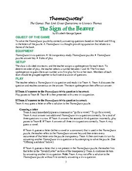 The Sign of the Beaver Trivia Game—Fun for the Whole Class!