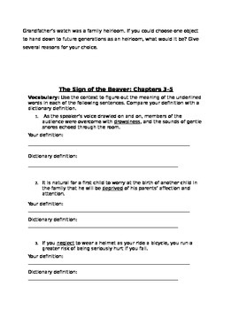 The Sign of the Beaver Vocab Worksheet & Discussion Question Packet