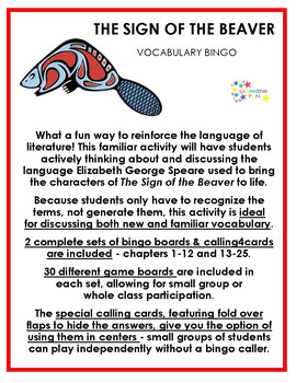 The Sign of the Beaver Vocabulary Bingo