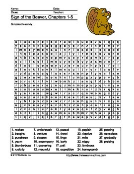 The Sign of the Beaver Word Search Printable