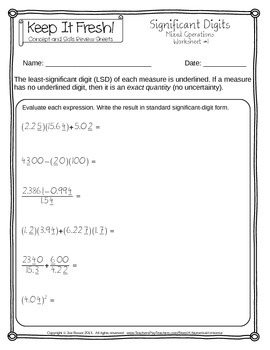Significant Figures Worksheets - Mixed Operations