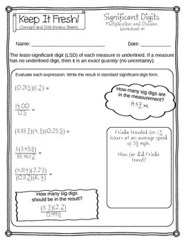 Significant Figures Worksheets - Multiplication and Division