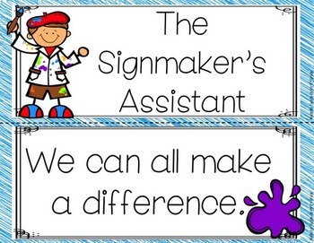 The Signmaker's Assistant Focus Wall Anchor Chart and Word Wall Cards
