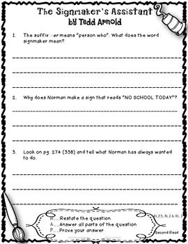 The Signmaker's Assistant Close Reading 2nd Grade Reading Street 5.5