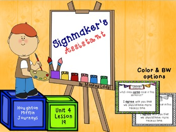 The Signmaker's Assistant Review Task Cards for Houghton Mifflin Journeys