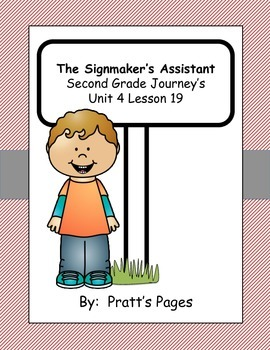 The Signmaker's Assistant Supplemental Activities for Journey's Unit 4 Lesson 19