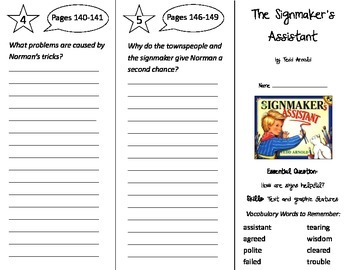 The Signmaker's Assistant Trifold - Journeys 2nd Gr Unit 4