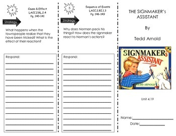 The Signmaker's Assistant by Tedd Arnold- Journeys Common Core -Houghton Mifflin
