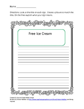 The Signmaker's assistant Literacy center activity/Writing activity about signs