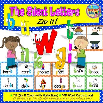 Silent Letters {Zip It Word Cards and Sorting Activity}