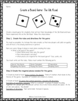 Silk Road Activity / Project: Create a Board Game