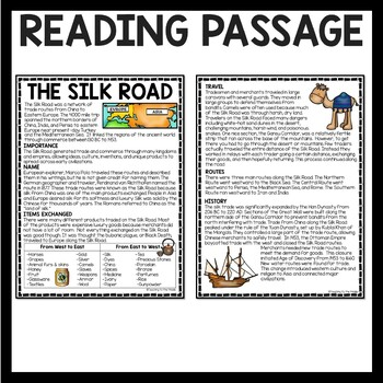 The Silk Road Reading Comprehension; Ancient China; Trade