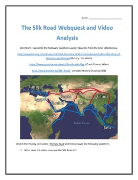 The Silk Road- Webquest and Video Analysis with Key