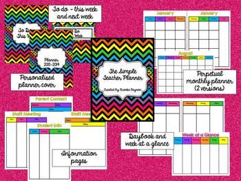The Simple Teacher Planner - Bright Chevron