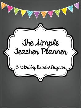 The Simple Teacher Planner - Chalkboard, Bunting and Birds