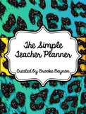 The Simple Teacher Planner - Teal Leopard