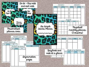The Simple Teacher Planner - Teal Leopard