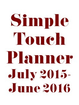 The Simple Touch Teacher Plan Book and Binder 2015-2016