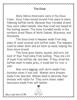 The Sioux: Native American Tribe- Non-fiction Reading Comprehension Passage