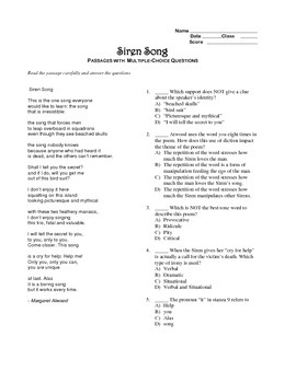 """The Siren Song"" editable, AP Style Passage Test, Essay Prompts, Sample Essay"
