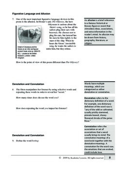 """The Siren Song"" COMPLETE UNIT EDITABLE Activities,Tests,Essays,AP Style,Keys"