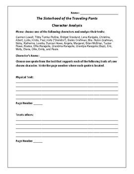 The Sisterhood of the Traveling Pants - Character Analysis Activity - Brashares