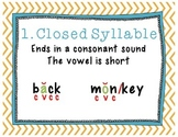 The Six (6) Syllable Types Posters
