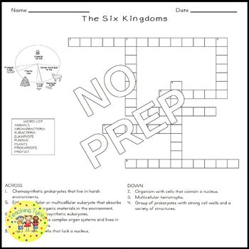 The Six Kingdoms Science Crossword Puzzle Coloring Worksheet Middle School