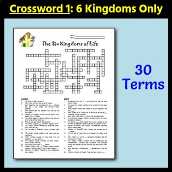 The Six Kingdoms and Three Domains of Life - Crossword - Two Versions {Editable}