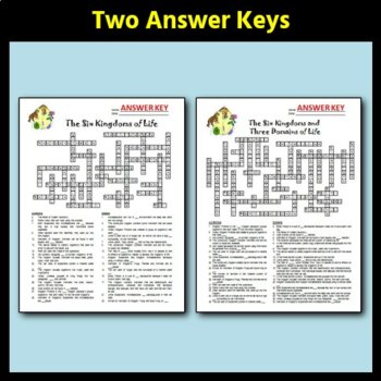 The Six Kingdoms And Three Domains Of Life Crossword Two Versions Editable
