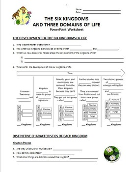 the six kingdoms and three domains of life powerpoint worksheet editable. Black Bedroom Furniture Sets. Home Design Ideas
