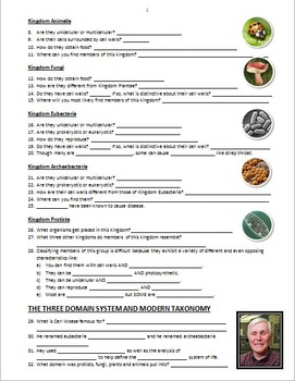 The Six Kingdoms and Three Domains of Life - PowerPoint Worksheet {Editable}