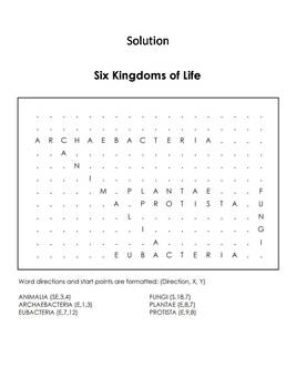 The Six Kingdoms of Life Word Search