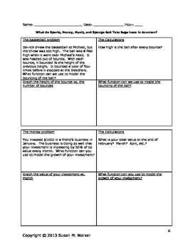 The Six Most Common Math Functions Activities Bundle for Algebra