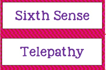 The Six Senses Words Word Walls