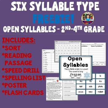 The Six Syllable Types Freebie! Open Syllables