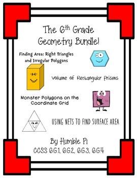 The Sixth Grade Geometry Bundle!- 6.G.1, 6.G.2, 6.G.3, 6.G.4