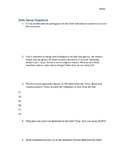 The Sixth Sense - Discussion Questions/Worksheet