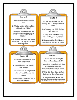Series of Unfortunate Events THE SLIPPERY SLOPE - Discussion Cards