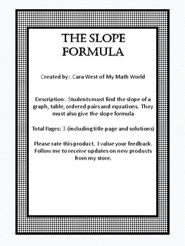 The Slope Formula