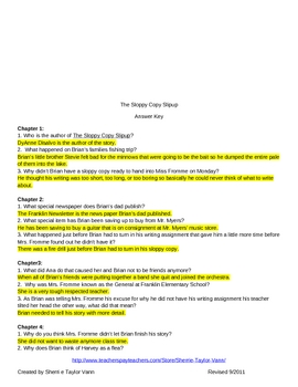 The Sloppy Copy Slipup by DyAnne Disalvo Comprehension Questions