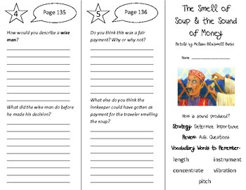 The Smell of Soup & the Sound of Money Trifold - 5th G Literacy by Design Theme4