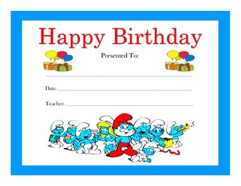 The Smurfs Birthday Certificates (Includes 6 Certificates)