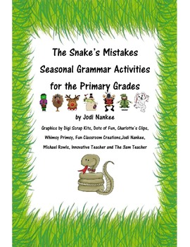 The Snake's Mistakes Grammar Activities - Holiday Edition