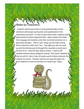 The Snake's Mistakes Grammar Activity for the Primary Classroom